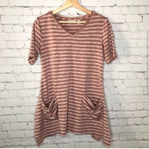 LOGO Pink Stripe Tunic Length Lounge Top Small